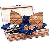 Kuty. Set di papillon in legno. Il set comprende: papillon in legno, gemelli in legno, spilla in legno, fazzoletto da taschin