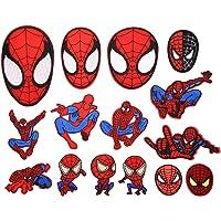 BOSSTER Toppe Termoadesive 15 Pezzi Spiderman Toppe per Vestiti Distintivo di Cucito Ricamato Cucito a Mano colorato per…