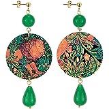in Lebole Collezione The Circle DOR149 Arazzo con Leone Orecchini da Donna in Ottone Pietra Verde