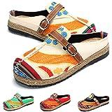 Zoccoli da Donna, Scarpe Casual di Tela Pizzo con Colori Caramello, Arte Multicolore Dipinta, Primavera Estate, comode Scarpe