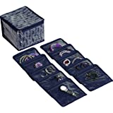HomeStrap Cotton Fabric Jewellery Organizer Box with 10 Transparent Pouch   Navy Blue
