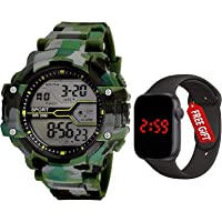 Watch City Sports Digital Men's Watch (Black Dial Green Colored Strap)