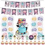 Birthday Party Supplies Decoraciones BETOY 44PCS BTS Conjunto de Decoración de cumpleaños BTS Cupcake Toppers Banner Globos H