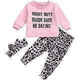 Conjunto de Ropa de bebé recién Nacido para Primavera y otoño, Camiseta de Manga Larga, Pantalones de Leopardo, Diadema 3 uds