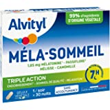 Alvityl - Gélules Méla-Sommeil - Mélatonine+3 plantes+vitamine B6 - Triple action sur le sommeil et la relaxation - 30 gélule