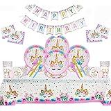 Samantha 114 Pezzi Kit di Articoli per Feste Unicorno, Decorazioni Compleanni Unicorno, per 16 Ospiti, con Piatti, Stendardi,