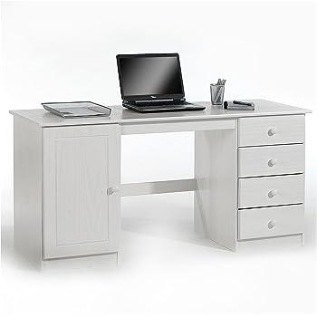 Country Schreibtisch mit 1 Tür und 2 Schubladen, weiss
