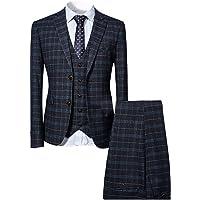 Mens Suits 3 Piece Slim Fit Checked Suit Blue/Black Single Breasted Herringbone Vintage Suit Tuxedo Formal Business…
