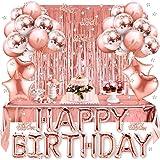 Korins Decorazioni per Feste di Compleanno, Set di Forniture per Feste in Oro Rosa Buon Compleanno Banner Confetti Palloncini