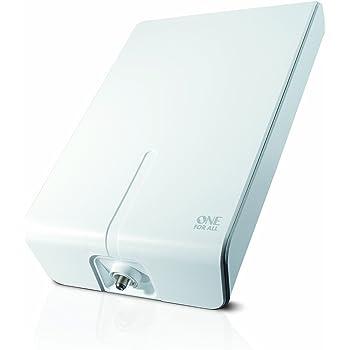 Antenne Full HDTV extérieure amplifiée de One For All avec d'Excellente Performance pour DVB-T TNT Numérique et Analogique TV Signaux - à 50km Range - Installation aisée avec 10 mt. Câble Coaxial  -VHF/UHF - Blanche - SV9455