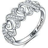 YFN Sterling Silver Infinity Love Engagement Ring with Cubic Zirconial Eternity Wedding Bands for Women