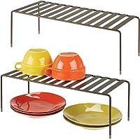 mDesign étagère cuisine (lot de 2) – rangement cuisine autoportant en métal – range vaisselle de cuisine très grand pour…