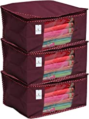 Kuber Industriestm Non Woven Saree Cover/ Saree Bag/ Storage Bag Set Of 3 Pcs (Maroon) 9 Inches Height (Ks011)