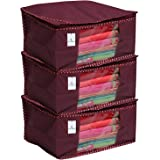 Kuber Industries 3 Piece Non Woven Saree Cover Set, Maroon (46 cm x 35 cm x 22 cm)