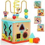 TOP BRIGHT Cube d'Activités en Bois 5-en-1 – Table d'activités pour Bébés et Enfants de 1 et 2 Ans – Centre éducatif avec Lab