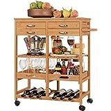 Homfa Carro Cocina Auxiliar Carrito de Servicio Bambú Estantería Almacenaje Frutas Verduras para Cocina Salón con 4 Ruedas 4