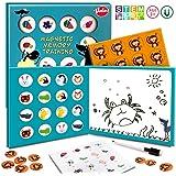 VATOS Minnesmatchande brädspel, 3-i-1 magnetiska kort med ritbräda förskola pedagogiska leksaker bordsbild snapmatch par spel