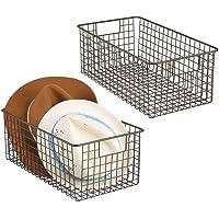 mDesign panier grillage en métal (lot de 2) – panier de rangement universel étroit pour plan de travail, cuisine, garde…