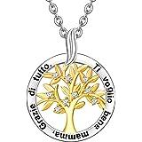ENGSWA Collana Personalizzabile Donna Incisione Argento 925 Ciondolo Albero Genealogico della Vita Regalo Mamma Madre Moglie