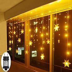 LED Lichterkette Schneeflocke Warmweiß Innen Fenster für Weihanchten Geburtstag Party Hochzeit IP44 24V Niederspannung 8 Modi 94er LEDs Lichtervorhang für Innen Außen 3,6M x 1M Weihnachtsbeleuchtung