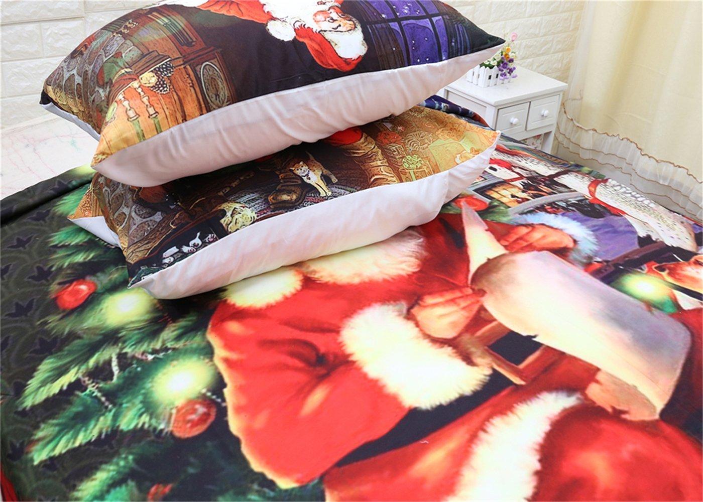 CHAOSE Juego de Sábanas Serie de Navidad Funda Nórdica de Algodón y poliéster 3 Piezas (1 Funda Nórdica + 2 Funda de Almohada 48x74cm)