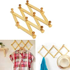 CONNECTWIDE® Wooden Hanger Expandable- New Wooden Hanger Expandable Wooden Coat Rack Hat Closet Hook Fold Expanding with 10 Pegs,1 Piece, Size: (29*60*60 cm)