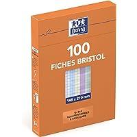 Oxford Etui de 100 Fiches Bristol Colorées A5 (14,8 x 21cm) Petits Carreaux 5x5mm Non Perforées 210g Couleurs Assorties