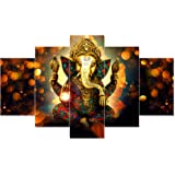 Saumic Craft Religious Themed Ganesha 3D MDF Framed UV Coated Painting with A Surprise Present Inside (Gold, 75x43 cm), Set o
