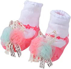 SHOP FRENZY Infants Cotton Booties, 0-6 Months(Pink and White)