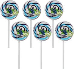 """Kandee Swirl Pop Blueberry Blast 2.25"""" Round (Pack of 6 Natural Colour Candy Lollipops)"""
