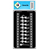 SWAGSTATION Warli Art Stencils for Craft and Art - Warli Dancing Border Stencils (4x8 Inches) Reusable DIY Stencils for Paint