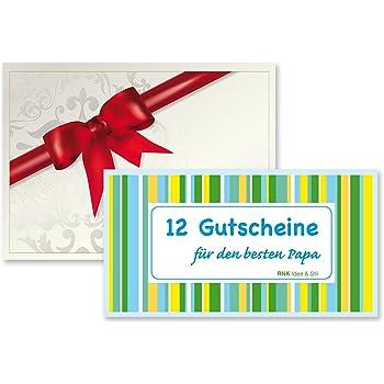 """Klappkarte Geschenkidee Gutscheinheft /""""12 Weihnachts-Gutscheine für Papa/"""" inkl"""