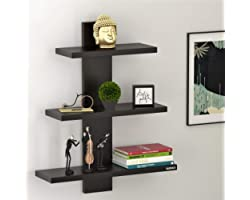 BLUEWUD Engineered Wood Wall Decor Book Shelf Wall Display Rack ,Matte Finish,Set Of 4,Wenge