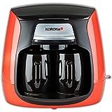 Korona 12208 Compact Koffiezetapparaat 12208-Rood-Zwart | incl. permanent filter | incl. 2 keramische kopjes Mini Koffiezetap