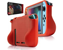 Orzly Grip Case for Nintendo Switch - Protective Back Cover for Nintendo Switch (2017 Console) in Handheld Gamepad Mode with