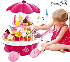 Smartcarft Ice Cream Kitchen Play Cart Kitchen Set Toy with Lights and Music -Small, Multicolor