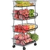 G.a HOMEFAVOR Corbeille à Fruits à 4 Étages, Panier de Rangement à Fruits en métal Porte Fruits avec Support pour Cuisine, Pl