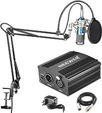 Neewer NW-800 Professionelle Kondensator-Mikrofon (blau) und NW-35 Hänge Ausleger Scherenarm Ständer mit XLR-Kabel und Befestigungsschelle und NW-3 Pop Filter & 48V Phantomspeisung mit Adapter Set