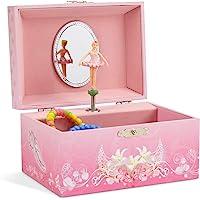 Jewelkeeper - Spieluhr Schmuckkästchen für Mädchen mit drehender Ballerina, Rosa Design - Schwanensee Melodie