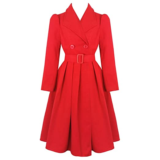 1950s Jackets, Coats, Bolero | Swing, Pin Up, Rockabilly hearts and Roses London Vintage 1950s Retro Statement Military Swing Coat �59.99 AT vintagedancer.com