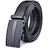 Men's Belt,Nelbons Genuine Leather Ratchet Belt for Men with Slide Buckle,Trim to Fit width 3.5cm 1 3/8 inch