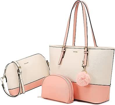 LOVEVOOK Handtasche Damen Shopper Schultertasche Damen groß Tasche Damen Synthetik Leder Handtaschen 3-teiliges Set