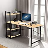 Kawachi Engineered Wood and Metal Computer Desk Writing Study Table with 4 Tier Bookshelves for Home, Office Workstation Beig
