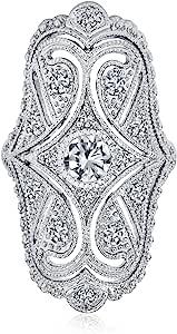 Bling Jewelry Deco Stile Antico di Filigrana Pave CZ Ampia Armor Full Dito Moda Anello Zirconia Cubica Rodio in Ottone Nichelato