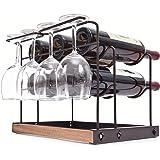 KINGRACK Wijnrek 6 flessen, Aanrecht Wijnflessen Houder Racks, Metalen Koper Wijnglas Houder,Wijn Opslag Organizer Vrijstaand