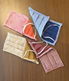 SARAF Cotton Fabric Solid on One Side and Checks on the Other Sides Reusable and Washable Reversible Face Mask for Men and Women (Free Size)