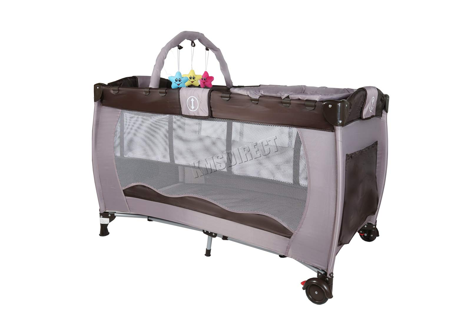 FoxHunter Portable Baby Cot Sleeping Bed Kids Infant Playpen Bassinet Child Play Pen with Entryway Travel BCB01 Coffee FoxHunter Travel cot easy to assemble and disassemble thanks to folding mechanism; igh quality and light weight; Fast and easy set-up, safe material and easy to clean; 2