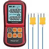 Proster Termómetro Digital de Doble Canal con Dos termómetros de Temperatura Tipo K con retroiluminación LCD para termopar K/