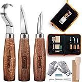 Ensemble d'outils de sculpture sur bois, 5 pièces, couteau à crochet SIMILKY + couteau en bois + couteau de mesureur + cire à