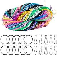 ZITFRI 200 PCS Scoubidou Fils Elastique Cordon pour Faire Bracelets Colliers - 10 Porte-clés et 10 Crochets Snap Clips…